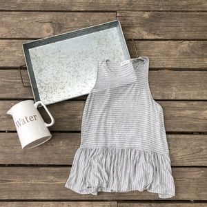 Stripped Tank Top with Loose Peplum